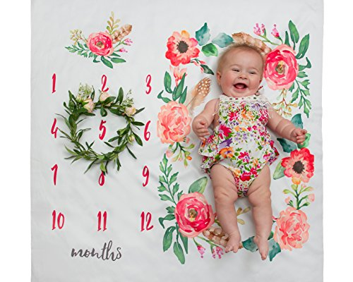 - WAVE&CO | Baby Milestone Blanket Floral Photography Background Prop Growing Girl & Boy Infants & Toddlers 100% Organic Cotton