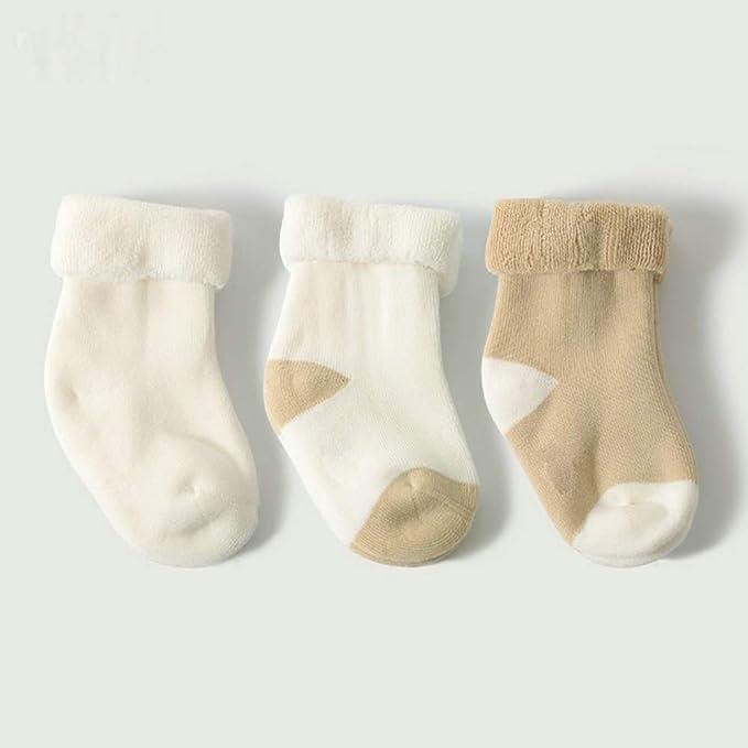 Nyrgyn Los Hombres Y Mujeres De Invierno Bebé Algodón Enfrentan Calcetines Calientes 3 Pares Off-