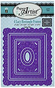 Hot Off The Press Paper Artist Cutting Die, 4 by 4.75-Inch, Lacy Rectangle Frames