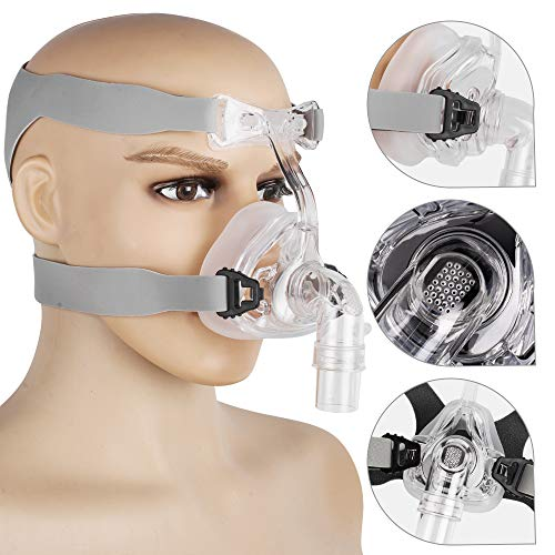Lolicute Full Face Mask Connect Face Hose with Adjustable Headgear Strap Clips (L)