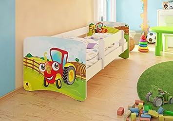 Kinderbett junge traktor  BEST FOR KIDS KINDERBETT MIT RAUSFALLSCHUTZ UND MIT 10 CM MATRATZE ...