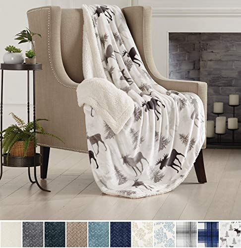 Home Fashion Designs Premium Reversible Two-in-One Sherpa and Fleece Velvet Plush Blanket. Fuzzy, Cozy, All-Season Berber Fleece Throw Blanket Brand. (Moose) from Home Fashion Designs