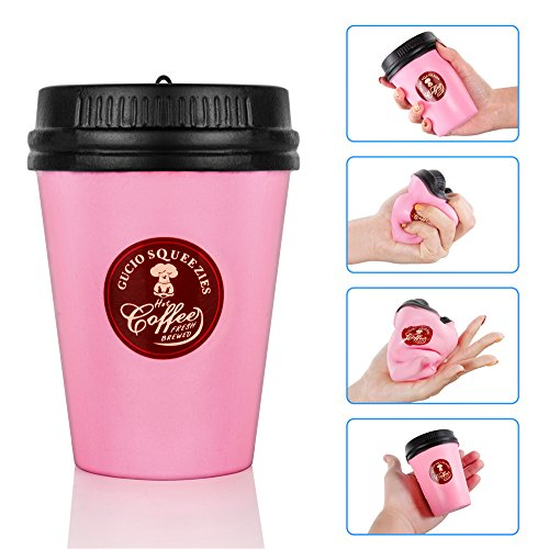 - Lavince Kawaii Jumbo Squishies Coffee Cup Super Slow Rising Squishy Stress Relief Toys Mini Squishy Donuts Scented Silly Squishies Keychain for Kids and Adults(Pink)