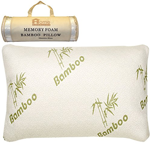 Unique Styles Hotel Quality Comfort King or Queen Bamboo Memory Foam Pillow Stay Cool Hypoallergenic Bamboo Cover with Zipper (1)