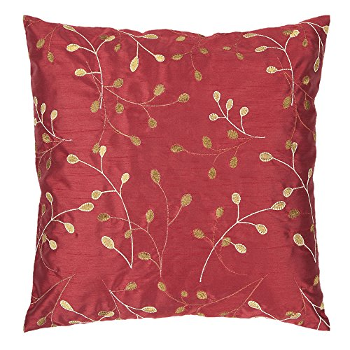 Surya HH-093 Hand Crafted 100 Polyester Venetian Red 22 x 22 Floral Decorative Pillow