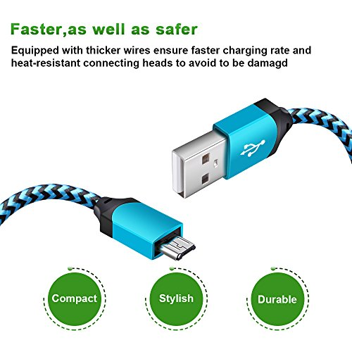 Android Micro USB Cable, GiGreen Certified Charging Cord Powerline 3 Pack 6FT Nylon Braided Sync and Fast Charging Aluminum Connector Tangle-free Data Cable for Samsung, Nexus, LG, Motorola, Nokia by GiGreen (Image #3)