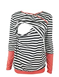 Chulianyouhuo Women's long sleeves stripes obstetric care tops breastfeeding t-shirts