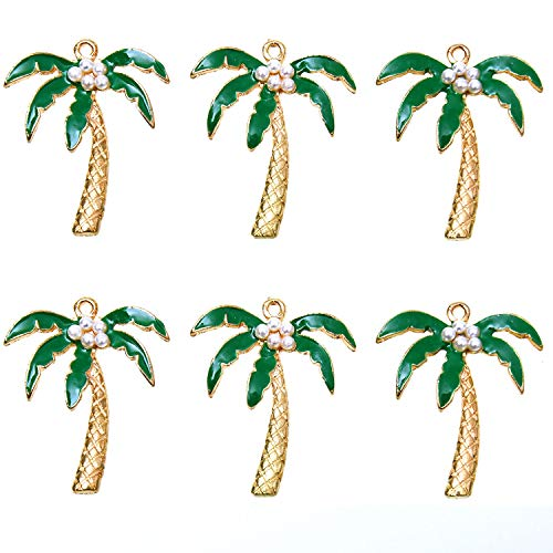 Monrocco Enamel Coconut Tree Charm with Pearl Gold Plated Enamel Findings Pendant for DIY Jewelry Making, Pack of 10