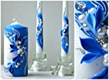 #5: Magik Life : Unity candle set  Decorations For Wedding  Outdoor  Bar  Restaurant  Party Home  Birthday  Wedding settings  ceremony ideas party (blue with flowers)