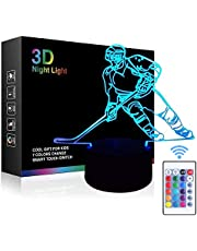 Optical Illusion 3D Hockey Night Light 7 Colors Changing USB Power Touch Switch Decor Lamp LED Table Desk Lamp Brithday Children Kids Christmas Xmas Gift