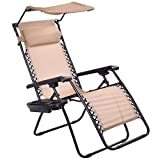 Goplus Zero Gravity Canopy Sunshade Lounge Chair Cup Holder Patio Outdoor Garden Beige (1)
