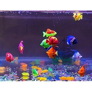 Aquamarine Plastic Artificial Fish for Aquarium Tank (Random Color and Pattern) – Set of 5 Pieces