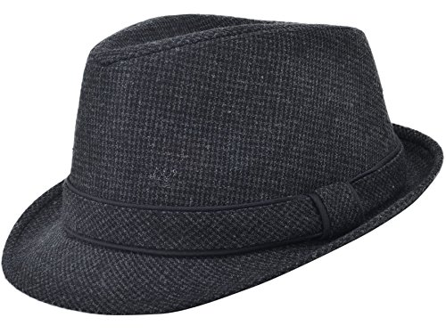 Classic Gangster Stain-Resistant Crushable Gentleman's Fedora, Grey