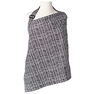Nursing Cover with Sewn In Burp Cloth for Breastfeeding Infants | FREE Matching Pouch- Best Apron Cover Up for Breast Feeding Babies | Covers Up Newborns in Public | Patented NAPPA Winner- Herringbone