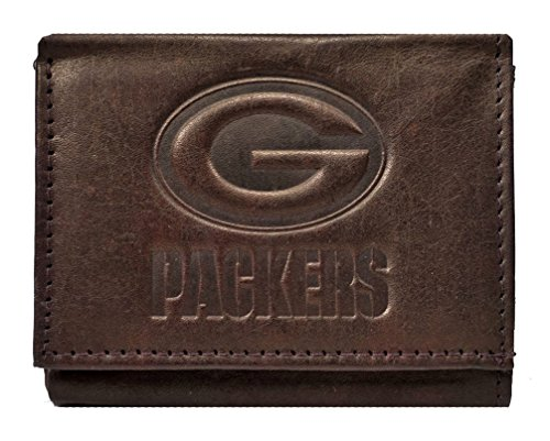 Rico Green Bay Packers NFL Embossed Logo Dark Brown Leather Trifold Wallet
