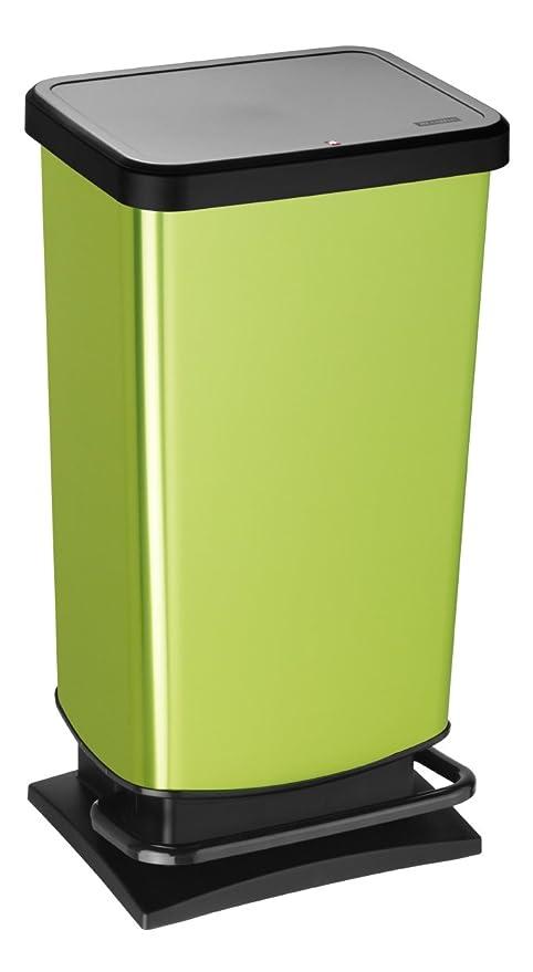 Rotho Paso - Contenedor de basura ermético a olores, con pedal, 40 L, Verde, 35,3 x 29,5 x 67,6 cm