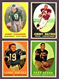 1958 Topps Football Reprint (4) Card Lot featuring Jim Brown Rookie, Sonny Jurgensen Rookie, John Unitas, Bart Starr** Cleveland) (Philadelphia) (Baltimore) (Green Bay Packers)
