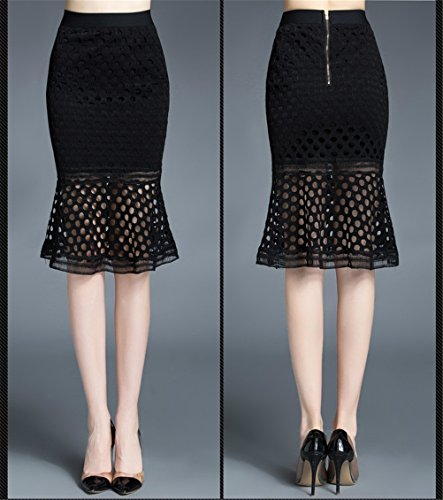 Dentelle Oudan Haute Moulante Vintage Femme Volants Jupe Noir Mi Longue Taille Jupe Ux4YrXU