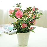 Lopkey Silk False Rose Flower with vase Artificial Potted Rose Bouquet,Pink
