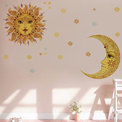 Amaonm Creative Removable DIY Giant Large Yellow Moon and Sun/Man and Women Face Flower Wall Sitckers Murals Living Room Kids Nursery Room Boys and Girls Bedroom Wall Decals Home Wall art Decor - Man Decal