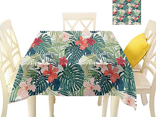 W Machine Sky Restaurant Tablecloth Leaf Summer Beach Holiday Themed Hibiscus Plumeria Crepe Ginger Flowers W54 xL54 Suitable for Buffet Table, Parties, -