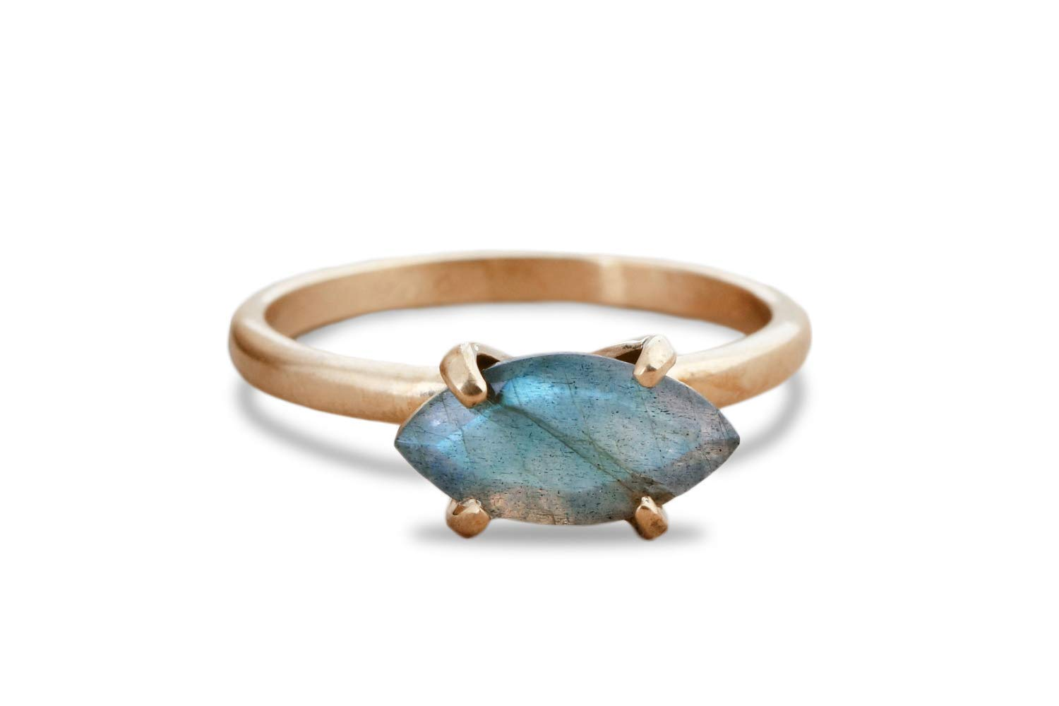 Anemone Jewelry Labradorite Ring in Rose Gold Artisan 14k Rings for Women with Gift Box Birthdays and Everyday Fashion Statement Cocktail Ring for Prom Weddings