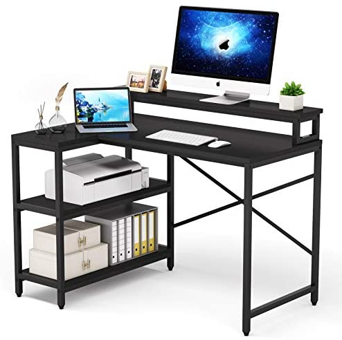 L Shaped Desk with Storage Shelves, Tribesigns Rustic Corner Desk Study Writing Workstation with Monitor Stand Riser for Home Office Small Space (Black)