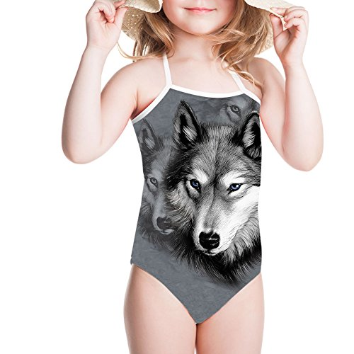 (Showudesigns Unique Wolf Swimwear One Piece Bathing Suit for Toddler Girls Gray)