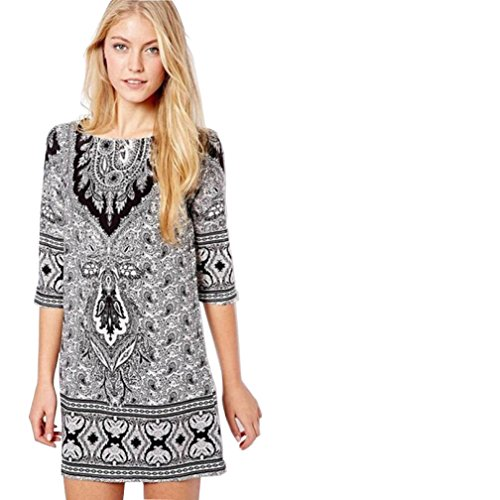 Totem Print Floral Mini Dress (White) - 3