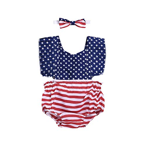Tronet Onesies Baby boy Sleeveless Infant Baby Girls 4th of July Stars Striped Patriotic Backless Romper Bodysuit Blue ()