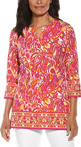 Coolibar UPF 50+ Women's St. Lucia Tunic Top - Sun Protective (X-Small- Pink Vintage Paisley)