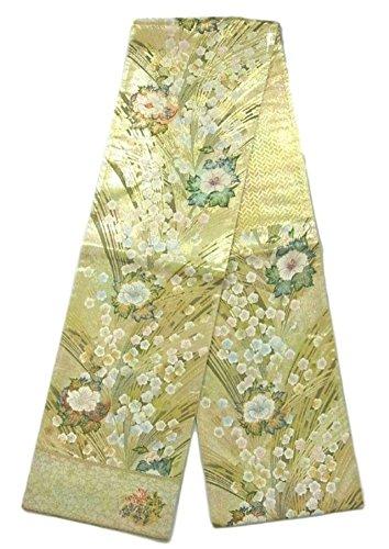 小説ライフルクライストチャーチリサイクル 袋帯 正絹 六通 松に梅や牡丹
