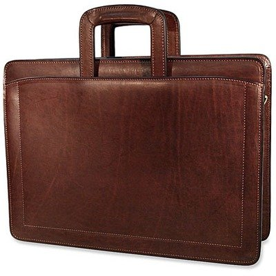 - Jack Georges Belting Collection Triple Gusset Top Zip Briefcase (Tan)