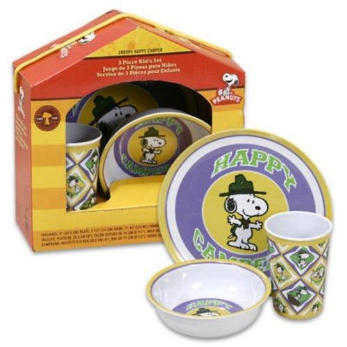 Snoopy Happy Camper 3 Piece Kid's Dinnerware ()
