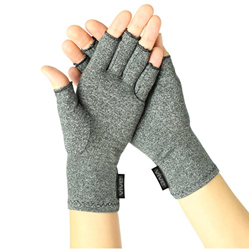 Arthritis Gloves by Vive - Compression Gloves for Rheumatoid & Osteoarthritis - Hand Gloves Provide Arthritic Joint Pain Symptom Relief - Men & Women - Open Finger