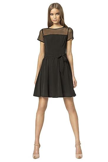 VictoriaV Nife- Damen Kleid Cocktailkleid Partykleid Tülleinsatz Schwarz   Amazon.de  Bekleidung 39d9a8618f