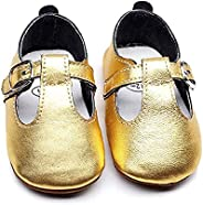 Bebila T-Bar Baby Moccasins Shoes - Genuine Leather Boys Girls Flats with T-Strap Rubber Sole Toddler Summer S