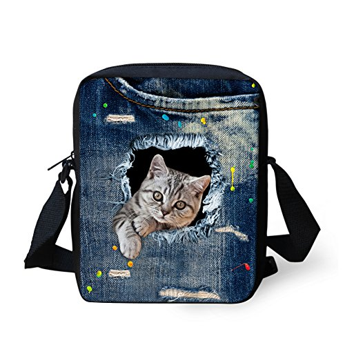 Small Dog Cross Bag Printed IDEA Mini Blue Women 4 HUGS body Cat Handbags Shoulder Denim Cute xR0vRpn8