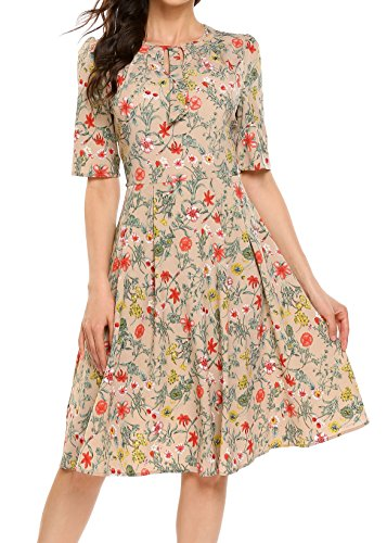 ACEVOG Women's Casual Short Sleeve Floral Printed Fit and Flare Party Dress