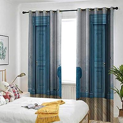 one1love Cortina de puerta corredera azul antiguo con dos puertas ...
