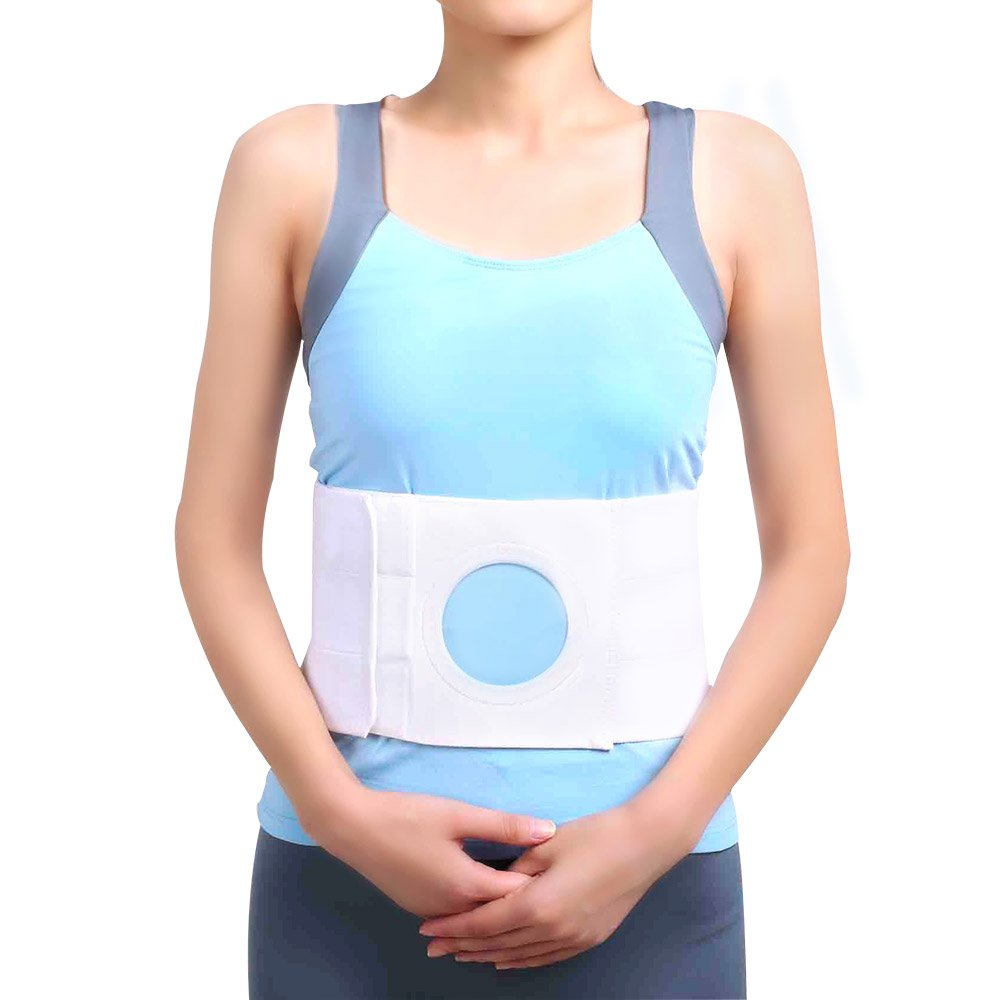 Unisex Ostomy Hernia Belt (Hole 3.14''), fit Right Side, Left Side, or anyother Side, Stoma Support for Colostomy Patients to Wear on The Abdominal Stoma to Fix Bag Prevent Parastomal Hernia (M)