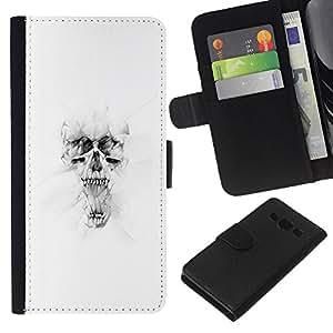 YiPhone /// Tirón de la caja Cartera de cuero con ranuras para tarjetas - Blanco Cráneo - Samsung Galaxy A3