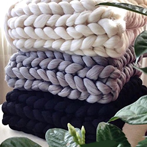 100% Wool Super Chunky Yarn - Non-Mulesed Merino Wool Roving Top,Extreme Big for Arm Knitting Knit Blankets Throws (4.4 LBS -88in, Gray) by FLORAVOGUE (Image #2)