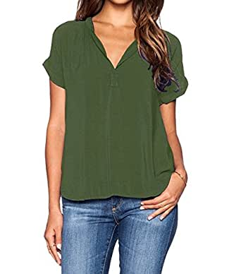 roswear Women's Chiffon Blouse V Neck Short Sleeve Top Shirts Army Green Small