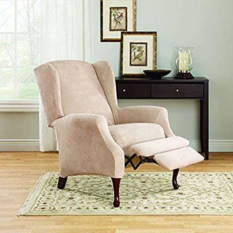 Sure Fit Stretch Suede Wing Chair Recliner Slipcover : wing chair recliner cover - islam-shia.org
