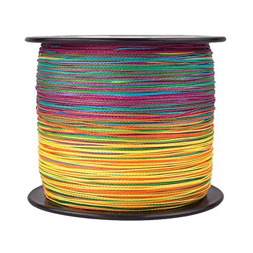 (HERCULES Super Strong 1000M 1094 Yards Braided Fishing Line 100 LB Test for Saltwater Freshwater PE Braid Fish Lines 4 Strands - Multicolor, 100LB (45.4KG), 0.55MM )