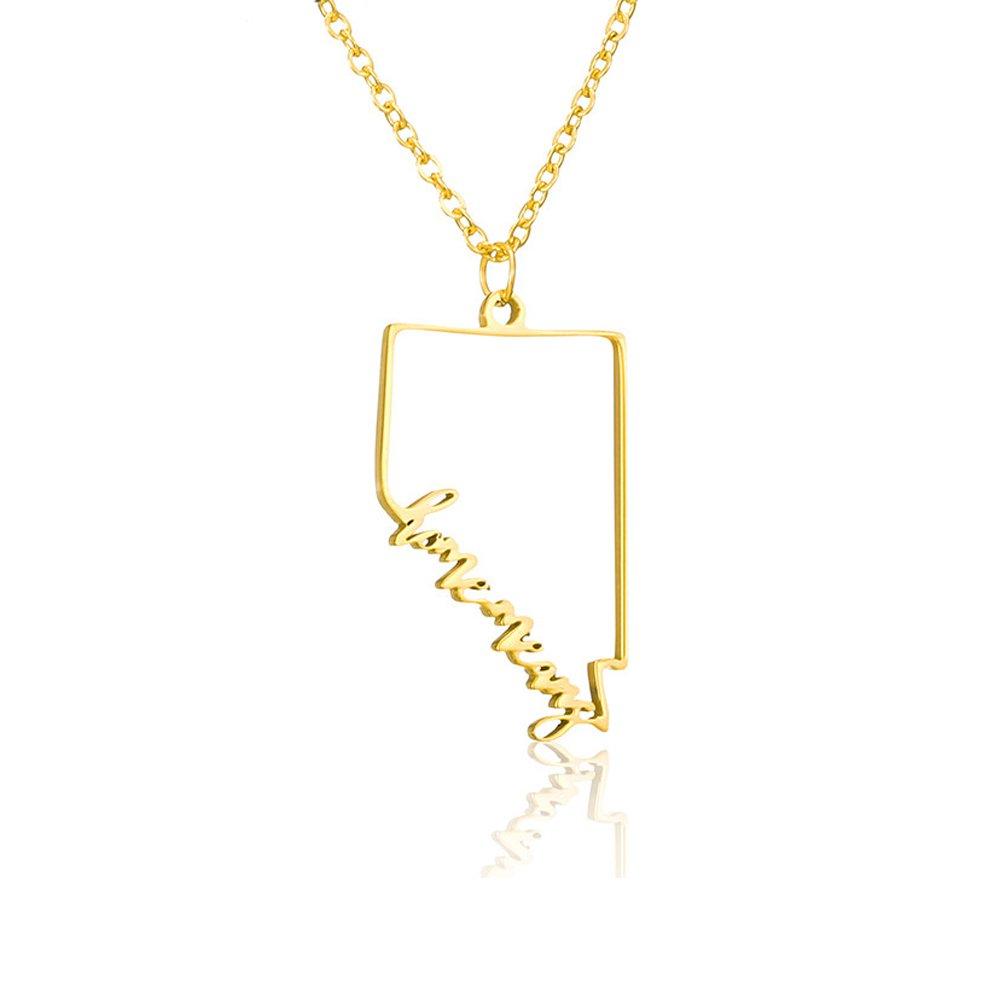 AOCHEE Nevada State Necklace NV Pendant Home State Necklace 18'' (Gold)