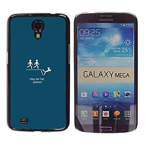 Samsung Galaxy Mega 6.3 - Metal de aluminio y de plástico duro Caja del teléfono - Negro - Follow The Leader - Funny Lemming