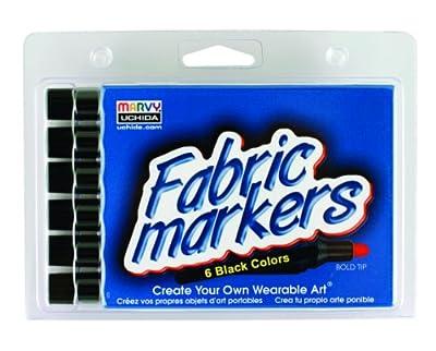 Uchida 520-6F Marvy Bold Tip Black Color Fabric Marker Set