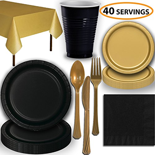 Disposable Party Supplies, Serves 40 - Black and Gold - Large and Small Paper Plates, 12 oz Plastic Cups, Heavyweight Cutlery, Napkins, and Tablecloths. Full Two-Tone Tableware Set]()